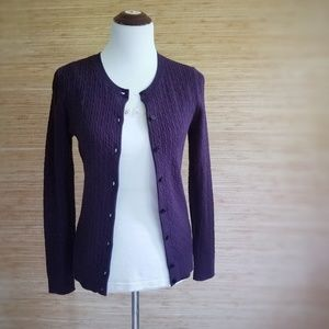 NWT Talbots Purple Button down Charming Cardigan